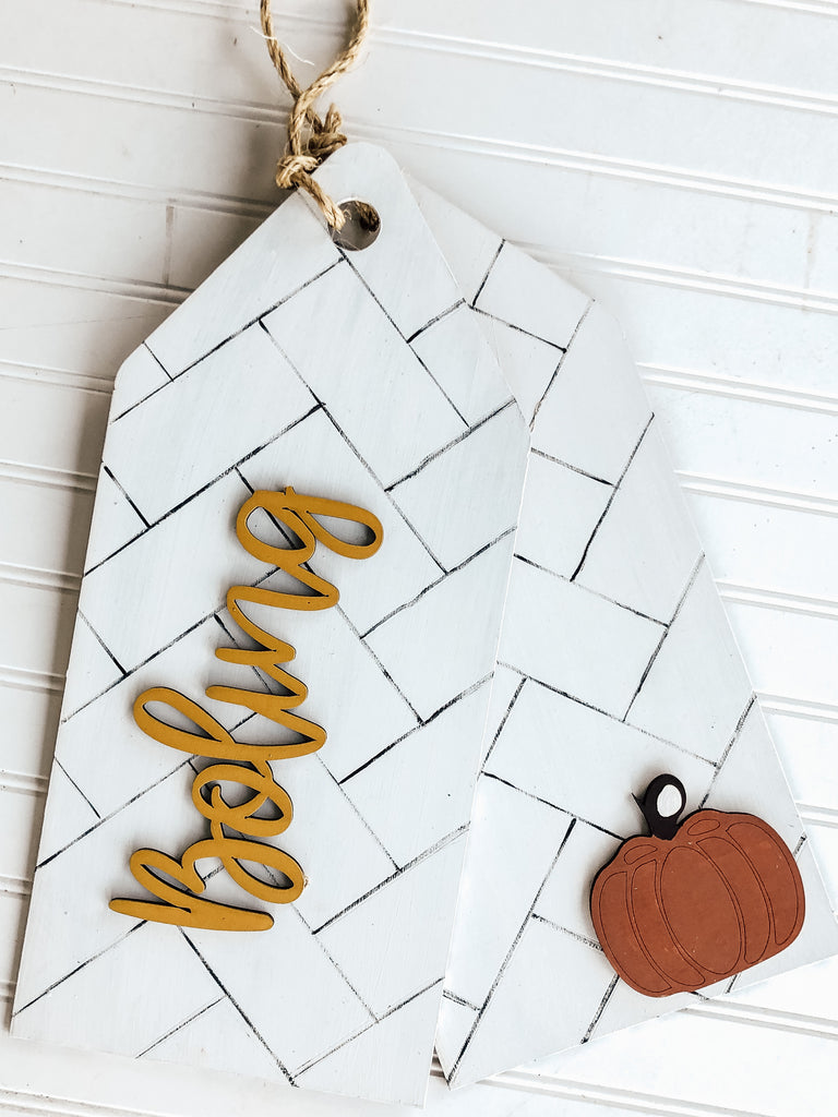 Personalized Herringbone Tags Door Hanger - BLANK