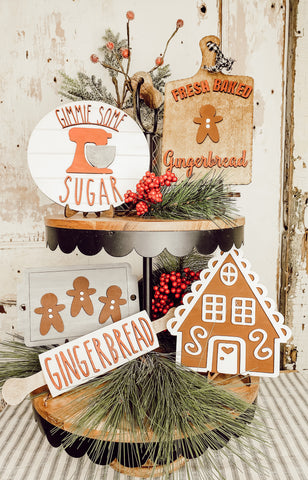 Gingerbread Tiered Tray Set - BLANK