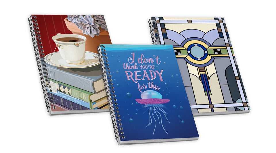 Spiralbound lined notebooks and lined journals
