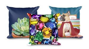 Bright and colorful throw pillows