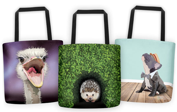 Frenchie tote bag and hedgehog tote bag