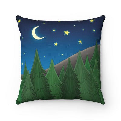 Forest throw pillow. Forest scene with moon, stars, trees, and mountain on a decorative throw pillow.