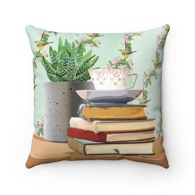 Booklover's Collection: Tea and Book Love Teacup Throw Pillow