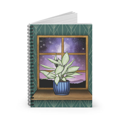 House plant notebook. Spiral notebook featuring a design with a plant overlooking a nebula night sky. Universe notebook.