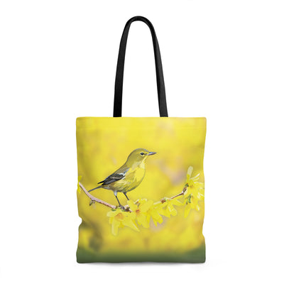 yellow bird tote bag pine warbler
