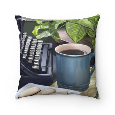 Coffee and Typewriter Throw Pillow