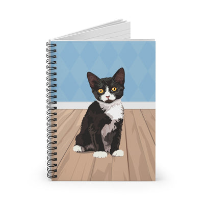 Tuxedo cat notebook. Spiral notebook for cat lovers.