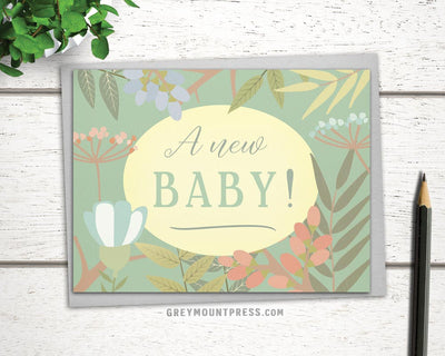 Card to send to new baby. A New Baby card for expecting parents
