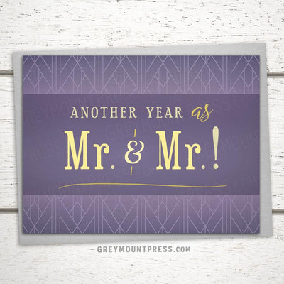 Same sex anniversary card. Another year as Mr. and Mr. Gay Anniversary Card. LGBTQ anniversary card.