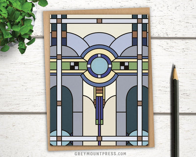 Stained glass greeting card for men in Art Deco style.