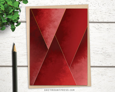 blank greeting card with red abstract artwork