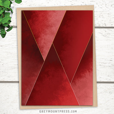 Abstract greeting card for friends. Crimson Tones design.