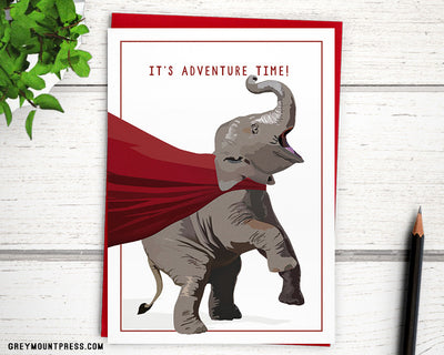 "Caped Elephant dynamo ""It's adventure time"" Card"