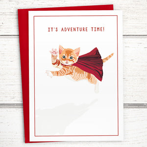 "Caped Cat Greeting Card: ""It's Adventure Time!"""