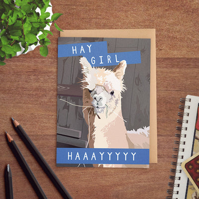 Funny alpaca birthday card
