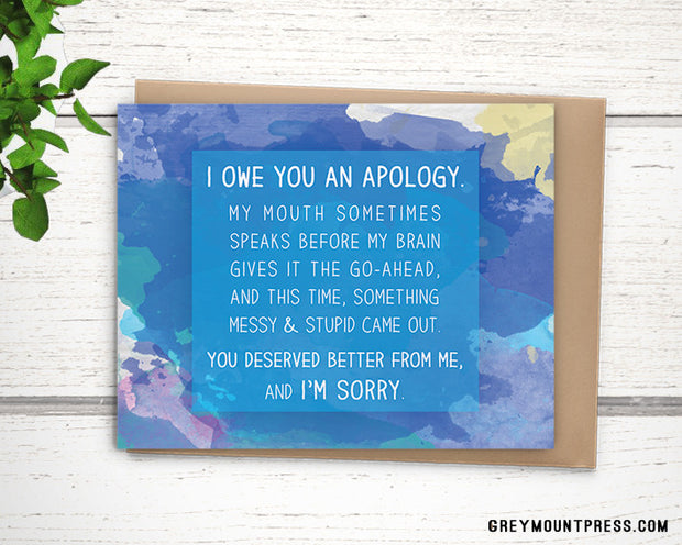 Watercolor Messy Apology Card. I'm Sorry Card. 1