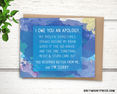 Watercolor apology card