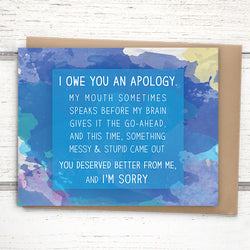 Messy watercolor apology card, 4.25