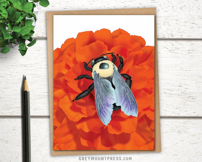 Bee Card for Gardener. Bee birthday card.