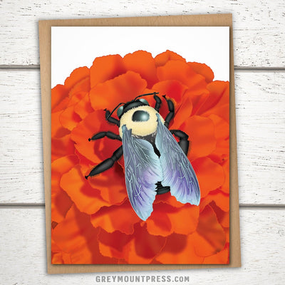 Bumblebee Greeting Card. Bee Card for Friends.