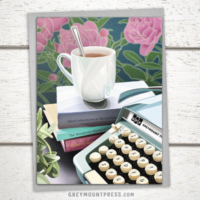 Booklover's Collection: Teacup and Typewriter Card