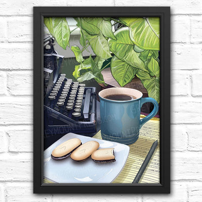 Coffee art print. Typewriter wall art. Art for writers. Coffee wall art for home decor.