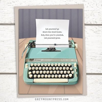 Typewriter greeting card featuring a 1960s typewriter