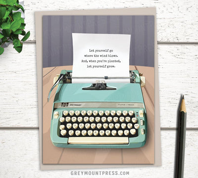 Greeting card with typewriter design