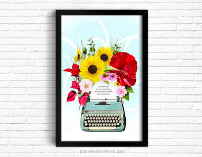 Biblio: Typewriter in Bloom Art Print