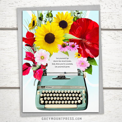 Booklover's Collection: Typewriter in Bloom Card