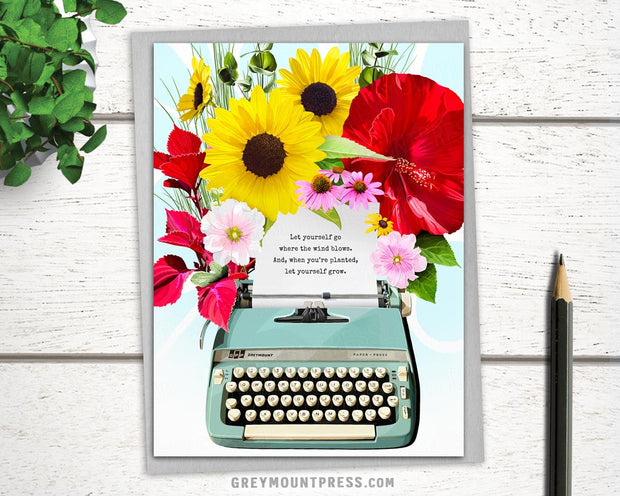 Booklover's Collection: Typewriter in Bloom Card 1