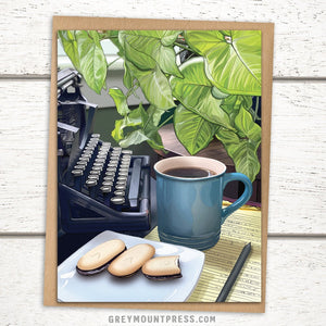 Booklover's Collection: Coffee and Typewriter Card