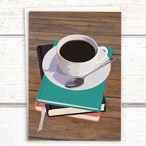 Booklover's Collection: Coffee greeting card, coffee and books