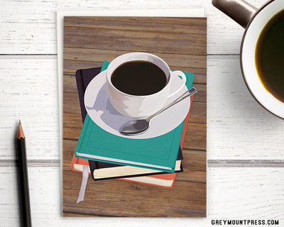 Booklover's Collection: Blank black coffee and books card - Greymount Paper & Press
