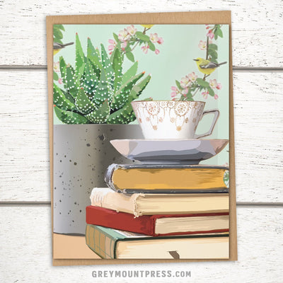 Booklover's Collection: Teacup and Succulent with Bird Background Greeting Card