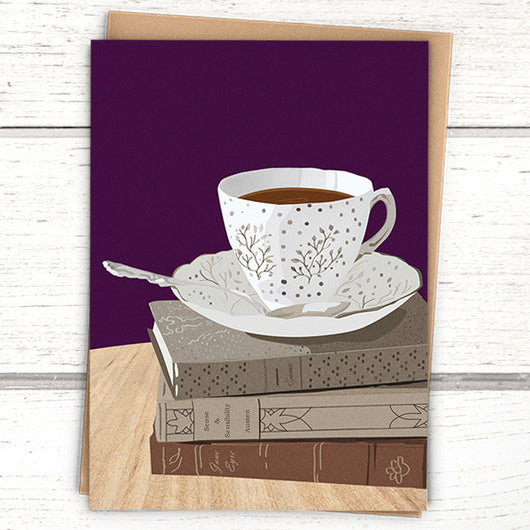 Booklover's Collection: Blank teacup and books on purple card - Greymount Paper & Press