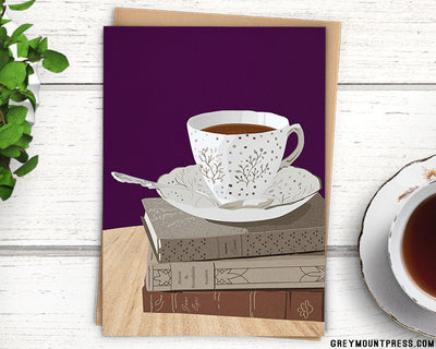 Card for bookworms teacup card
