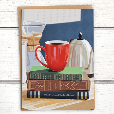 Coffee Greeting Card for booklovers
