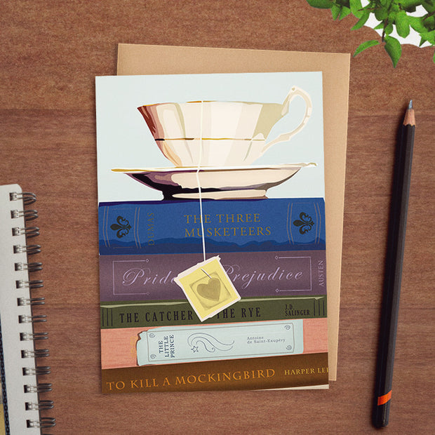 Booklover's Collection: Teacup greeting card with book stack 1