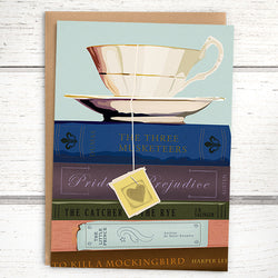 Booklover's Collection: Blank teacup and books card - Greymount Paper & Press