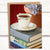 Booklover's Collection: Teacup greeting card with purple succulent and books