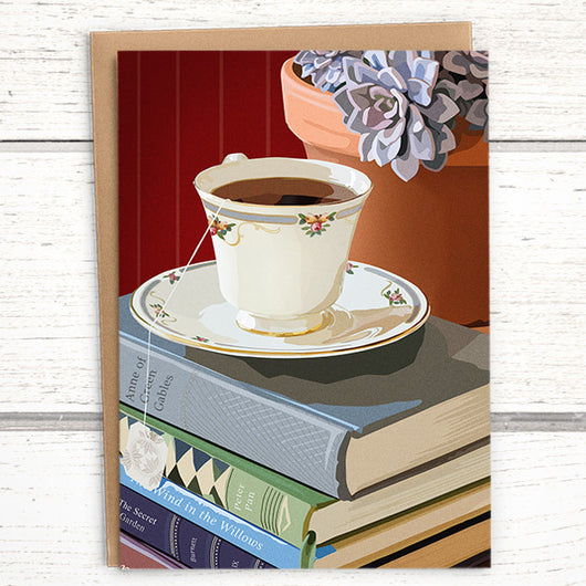 Booklover's Collection: Teacup and succulent A6 blank greeting card - Greymount Paper & Press