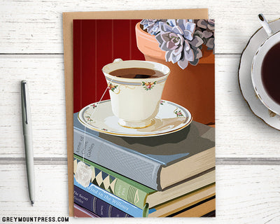 Teacup greeting card for bookworms