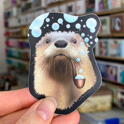 Bubble pipe otter laptop sticker.