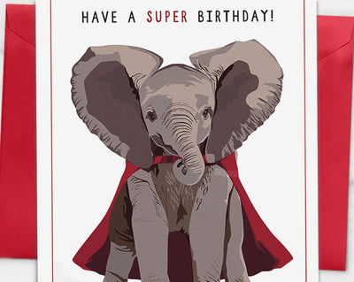 "Caped Elephant ""Have a super birthday"" Card"