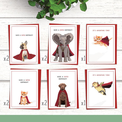 Caped Animal Greeting Card Mixed 10-Pack