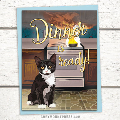 Cat Greeting Card: Dinner is Ready
