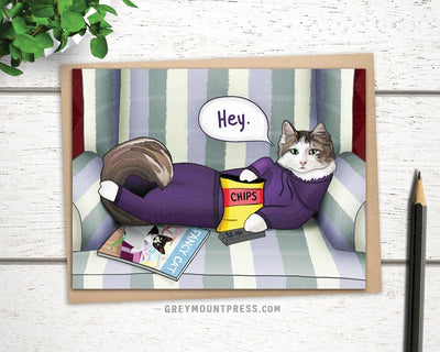 Cat With Remote Greeting Card