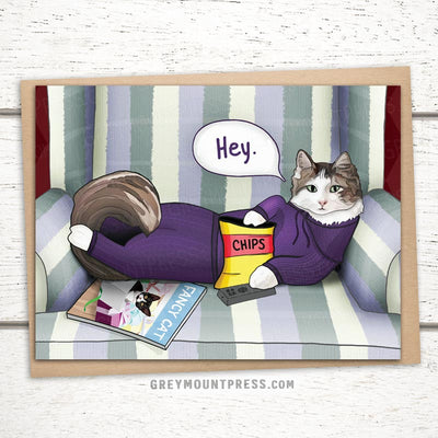 Funny cat card. Greeting card with cat and remote.