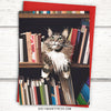 Cat greeting card. Cat in bookshelf card. Funny cat card.